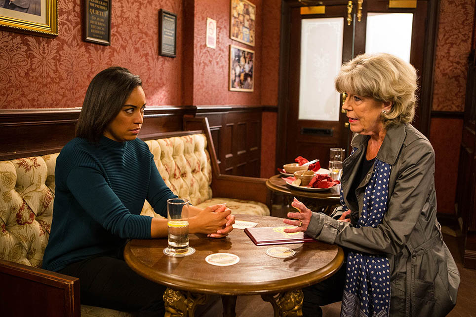 FROM ITV  STRICT EMBARGO - NO USE BEFORE TUESDAY 11 OCTOBER 2016                                  Coronation Street - Ep 9017  Friday 21 October 2016 - 1st Ep  Audrey Roberts [SUE NICHOLLS] confronts Caz [RHEA BAILEY] and tells her that as Maria's friend, landlord and employer, she wants her out of the salon flat, how will Caz react to Audrey's demands?  Picture contact: david.crook@itv.com on 0161 952 6214  Photographer - Mark Bruce  This photograph is (C) ITV Plc and can only be reproduced for editorial purposes directly in connection with the programme or event mentioned above, or ITV plc. Once made available by ITV plc Picture Desk, this photograph can be reproduced once only up until the transmission [TX] date and no reproduction fee will be charged. Any subsequent usage may incur a fee. This photograph must not be manipulated [excluding basic cropping] in a manner which alters the visual appearance of the person photographed deemed detrimental or inappropriate by ITV plc Picture Desk. This photograph must not be syndicated to any other company, publication or website, or permanently archived, without the express written permission of ITV Plc Picture Desk. Full Terms and conditions are available on the website www.itvpictures.com