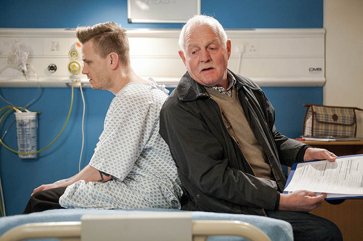 FROM ITV  STRICT EMBARGO - No Use Before Tuesday 19th April 2016  Emmerdale - Ep 7490  Friday 29 April 2016   A worried Pollard [CHRIS CHITTELL] convinces a reluctant David Metcalfe [MATTHEW WOLFENDEN] to go ahead with the operation. At the hospital, David tries to be brave and Pollard tries to hide his nerves.   Picture contact: david.crook@itv.com on 0161 952 6214  Photographer - Andrew Boyce  This photograph is (C) ITV Plc and can only be reproduced for editorial purposes directly in connection with the programme or event mentioned above, or ITV plc. Once made available by ITV plc Picture Desk, this photograph can be reproduced once only up until the transmission [TX] date and no reproduction fee will be charged. Any subsequent usage may incur a fee. This photograph must not be manipulated [excluding basic cropping] in a manner which alters the visual appearance of the person photographed deemed detrimental or inappropriate by ITV plc Picture Desk. This photograph must not be syndicated to any other company, publication or website, or permanently archived, without the express written permission of ITV Plc Picture Desk. Full Terms and conditions are available on the website www.itvpictur